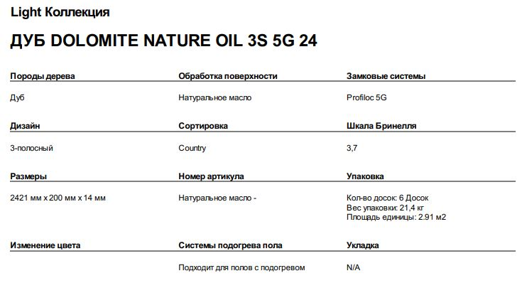 ДУБ DOLOMITE NATURE OIL 3S 5G 24